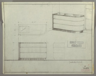 Drawing, Chest: Three Drawers, Curved on Right, 1930s
