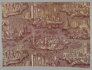Four scenes that might illustrate events in the life of Henri IV.  Two of the scenes would complete themselves if lengths were sewn together as a straight repeat. In purple on white.
