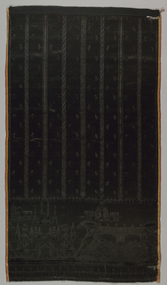 "Skirt fragment in all black with a pattern in cut and uncut pile. Narrow decorated vertical stripes on ground scattered with tiny sprigs. Deep hem decoration of symmetrical scenes of fishing figures on either side of a stream swirling under a double-arched bridge alternating with dueling figures in front of allée of obelisks. Portico topped by coronet and with unidentified initials ""LL"" in background. Wide pink and yellow striped satin selvages."