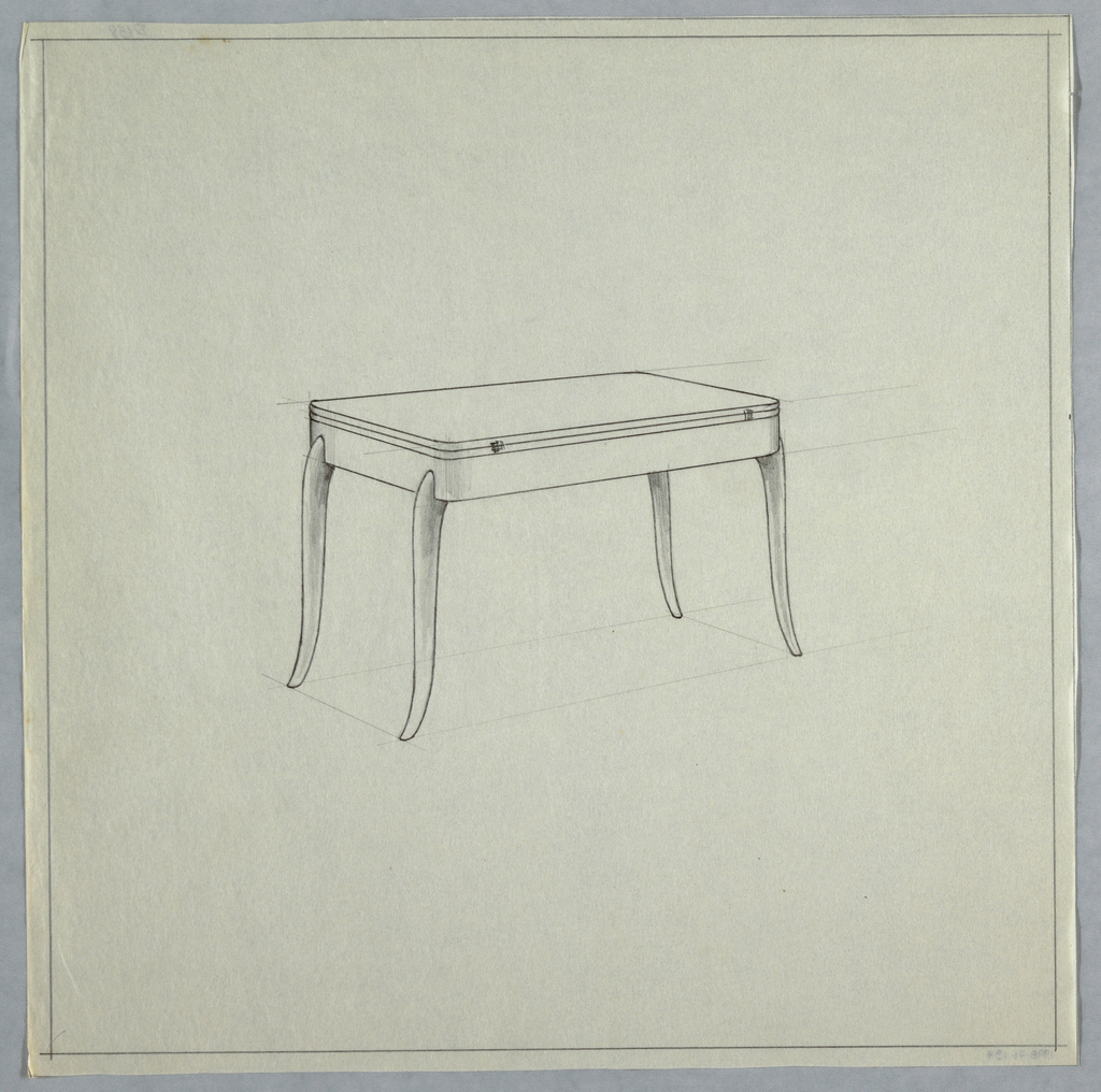Rectangular table with flared legs.