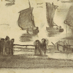 Drawing, Beach Scene with People and Fishing Boats, Cullercoats, England