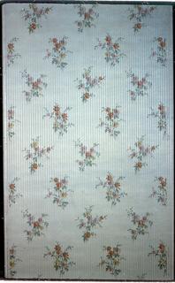 Floral sprig design printed on a striped background.