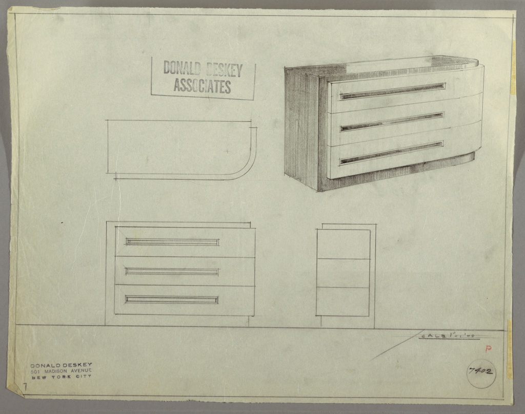 Drawing, Chest: Three Drawers, Low; Attached Curved Front Panel with Long Rectangular Pulls, Off-Center, 1930s