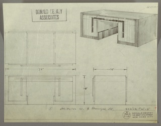 Drawing, Desk: Seating at Center, Center Drawer, Adjacent Drawer Stacked on Larger Drawer-Left and Right-with Superimposed Reverse U-Shaped Hardware, 1930s