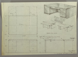 Drawing, Desk: Three Stacked Drawers with Round Knobs, Centered, Each Side, Adjustable Drawing Board on Top, 1930s