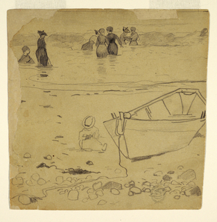 Recto: Square view of women bathing in the surf, with a child and rowboat visible on shore.  Verso: Square view of a woman and pavilions.