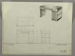 Drawing, Desk:: Seating on Left,  Center Drawer-Horizontal Pull with Ball Endpieces, Two Open Shelves on Short Side- Right, September 30, 1933