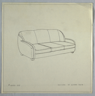 Three-cushioned sofa with rounded arms and squared feet.