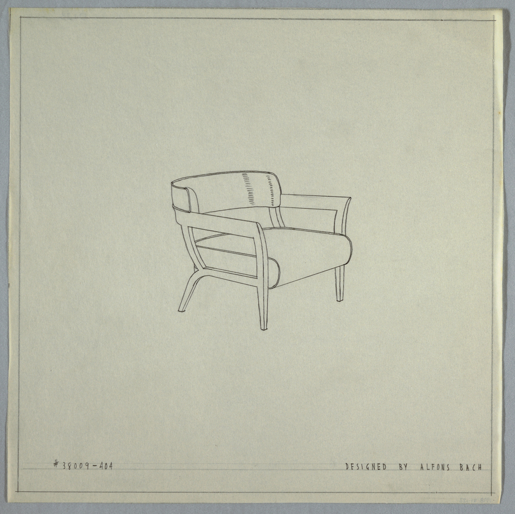 Armchair with squared and flared arms and straight legs with horizontal curved back.