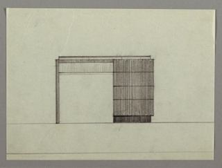 Drawing, Desk: Seating on Left, Four Stacked Drawers on Right, 1930s