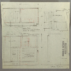 Two plans and two elevations of a design for radio cabinet with folding doors, sliding panel on top, radio, phonograph, speakers, and record storage. Notes indicate that the cabinet is to be made in black lacquer and Macassar ebony.