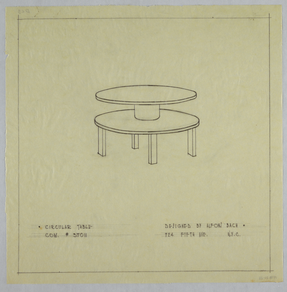 Two-tiered round table with four legs.