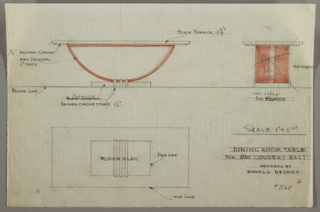 Design for dining room table, Mrs. Coudert Nast apartment. Table has rectangular top of black formica, and red lacquer base in shape of half circle; rounded side supported by rectangular formica base with brushed chrome straps.