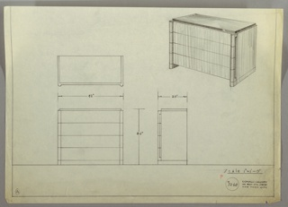 Design for chest of drawers. At upper right, object shown in perspective: rectangular volume with slightly recessed top in darker material resting on base with four drawers in lighter material. These feature slightly bulging, curved front corners with vertical indentations on either side; these finger pulls provide access to drawer interiors. Sides extend to ground and elevation chest. Also shown in plan and front and side elevations. Inscribed with Deskey No. 7260.