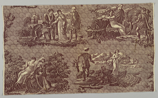 Four scenes illustrating the Scottish story of the Lady of the Lake. Two of the scenes are captioned in French. At each selvedge is a bit of foliage which would complete if lengths were sewn together as a half-drop repeat of pattern. In brown on white.