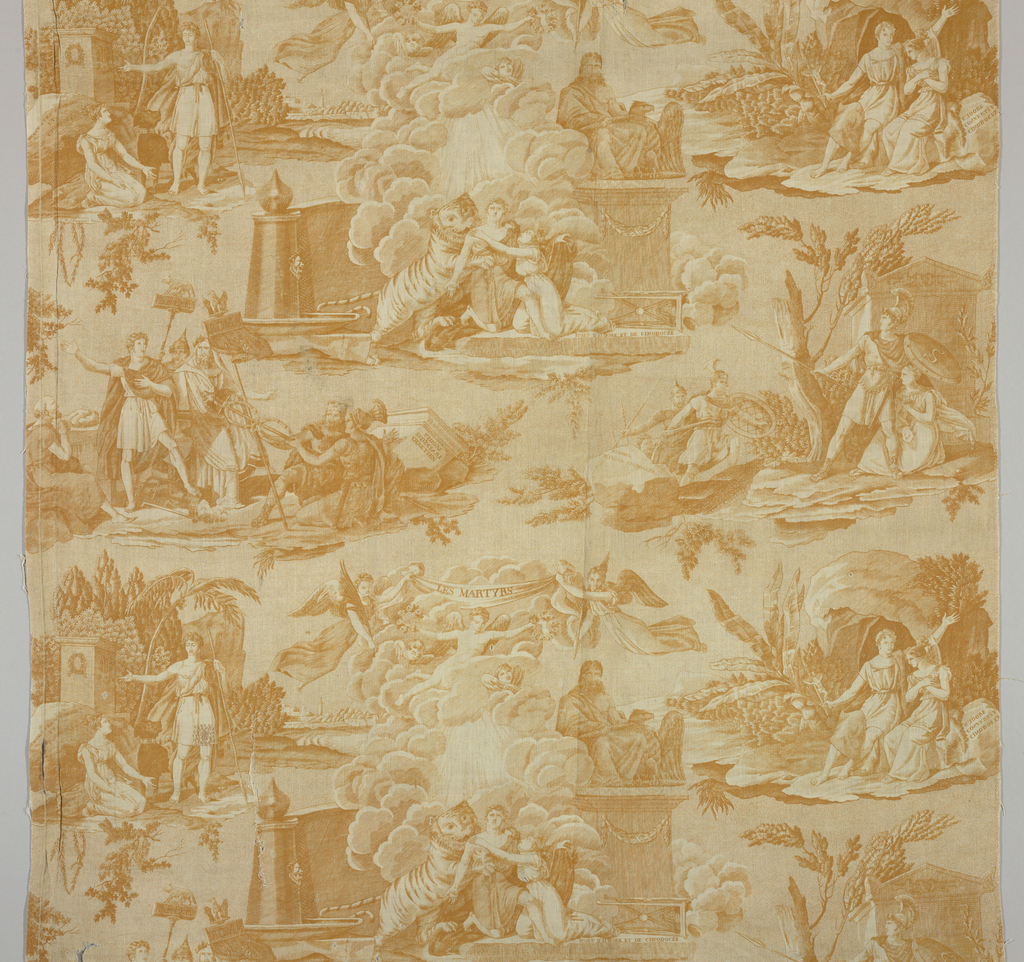 Five scenes of Christian martyrs in Rome. Scenes of a tiger attacking Eudore and Clicoduee at the center. In ocher (color called bistre in French) on white.