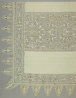 Large altar frontal with insertion bands of punto in aria in a reticella style showing an allover pattern of curving lines. Matching border with very deep points.