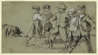 Recto: Horizontal view of six young boys playing snap the whip outdoors.  Verso:  Young girl in sunbonnet with pail.