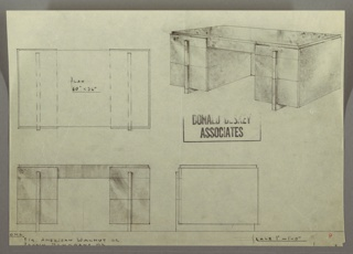 Drawing, Desk: Centered Seating, Three Drawer Stack Left and Right with Vertical, Centered, Rectangular Hardware, 1930s