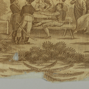 Printed in brown with scenes of country dancing, drinking and courtship. Some men in uniform of Napoleonic era with tricorne. Women in Empire-style light dresses; some in 18th century-style court dress. Scenes interspersed with large, exagerrated palm trees.