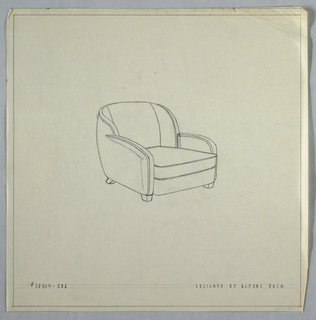 Armchair with rounded back and arms.
