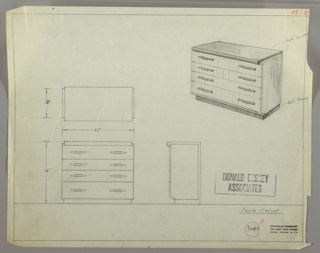 Drawing, Chest: Four Drawers, Low, Rectangular Pulls, Left and Right, 1930s