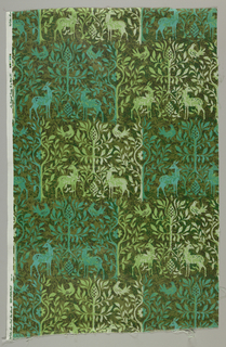 Small printed panel in shades of green showing a pattern of confronted birds and stags. Inspired by textile 1902-1-981.