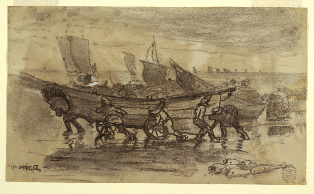Horizontal view of five fishermen shown beaching a boat on a four- wheeled truck, in the foreground, with sailboats on the sea indicated in the background.