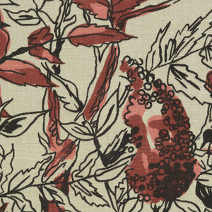 Large sumac branches with leaves and fruit boldly drawn in black with shades of brown and rust on a natural linen ground.