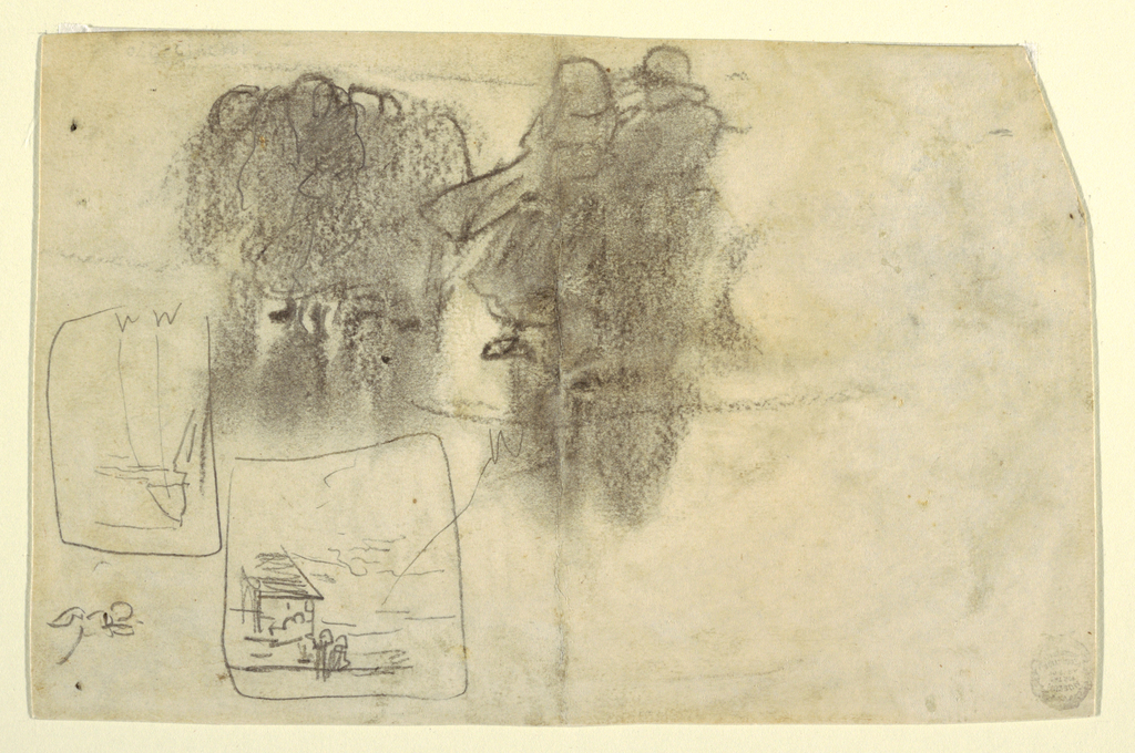 Recto: Group of figures in the lee of a building, with a railing in the middle distance and a view of the ocean beyond. Written color notations  across bottom margin beside a sketched fisherman's hat.