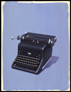 Detailed rendering of standard black Royal Typewriter placed centrally on a blue background.