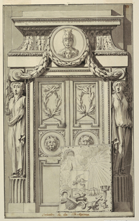 In the form of a portal, two caryatids support a pediment, with swags encasing a central medallion.  Lower right, a drawing of religious attributes leans against the door.