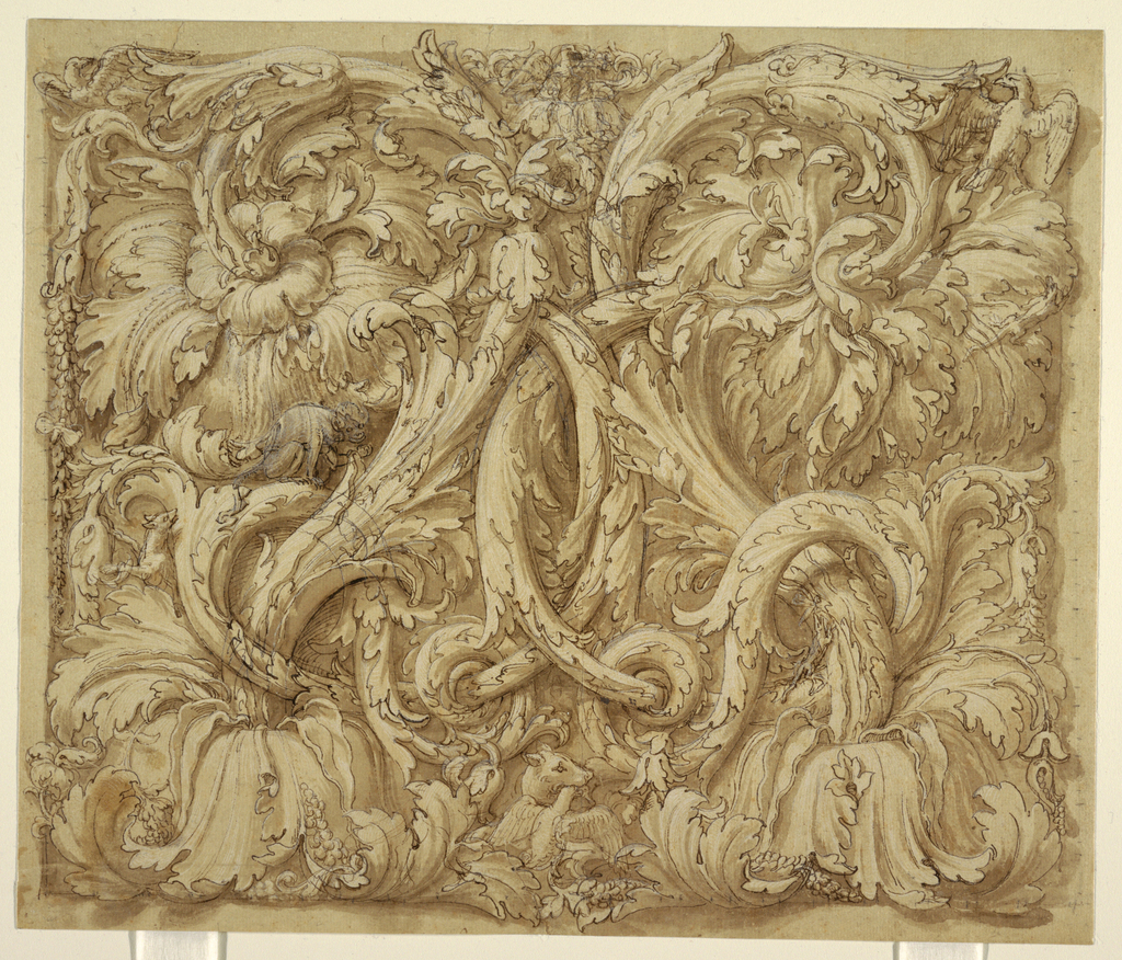 Symmetrical arrangement of interlaced acanthus rinceaux interspersed with animals and birds.  Included are salamanders and eagles which are possible references to Federico Gonzaga and family who were important patrons of Giulio Romano.
