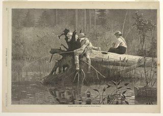 Three boys are seated on a tree trunk which has fallen over a stream.  In the center, one boy is fishing, while another watches.  The third boy, on the right, baits his line.  Forest in background.  Possibly located at Keene Valley in the Adirondacks.  Information from Linda S. Ferber, Barbara Dayer Gallati, Marilyn S. Kushner, Winslow Homer: Illustrating America (New York, NY: George Braziller in association with Brooklyn Museum of Art, 2000), 63.