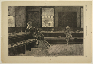 Horizontal view of a teacher sitting looking out the window and a small child sitting on a bench with a book.