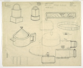 Drawing, Designs for Teapot, Trays and Salt Shaker
