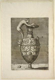Print, Ewer with a Satyr Holding a Large Conch (Vico)