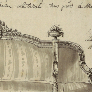 A sofa divided into three sections, shown frontally at left, and in left profile and right; upholstered arms surmounted by urns with flowers; in the center, above, a trophy consisting of a helmet, quiver of arrows and laurel leaves.