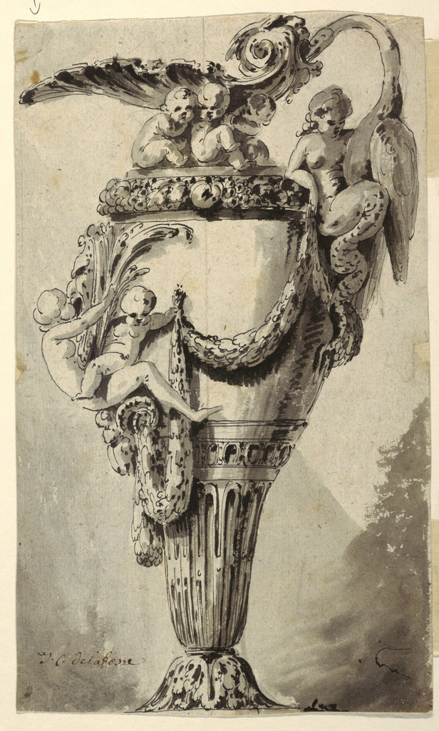 Handle of ewer consists of a swan rising from the lap of mermaid. Two putti support a shell which serves as spout. A girl, a child, and rope-like festoons decorate the upper register of the ewer. Fluted lower portion on an acanthus leaf base; verso: design for coffee pot.