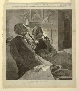 An elderly couple seated near a fireplace, with a grandfather clock at right. The husband has an ear trumpet.