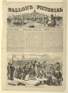 Print, Emigrant arrival at Constitution Wharf, Boston, 1857