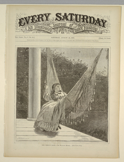 Young lady swinging in a hammock on a shaded porch of a country house.  Robin in upper right singing among the foliage and a second bird flying in sky above the foliage.