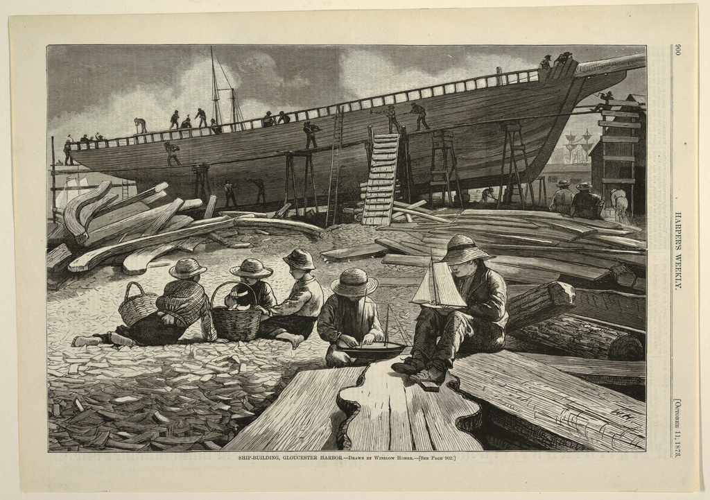 Horizontal view with a  ship under construction in the background and a group of five boys, with two holding models of sailboats and three boys with two baskets, in the background. One boy is gathering shells in a basket.