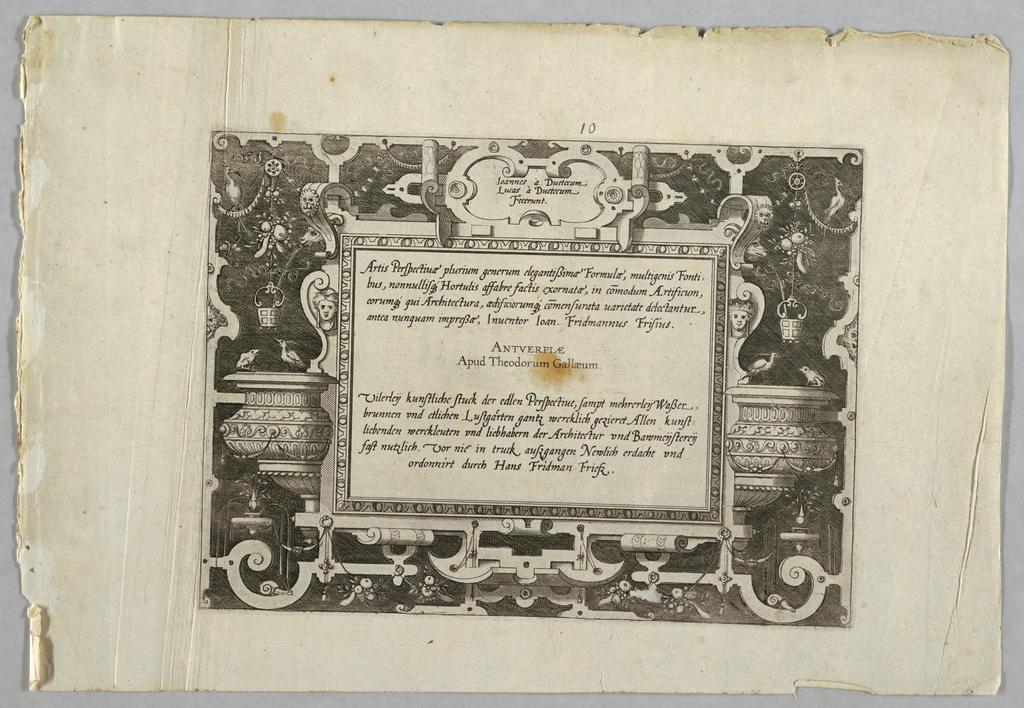 "Print, Title Plate: ""Artis Persp, 1568"