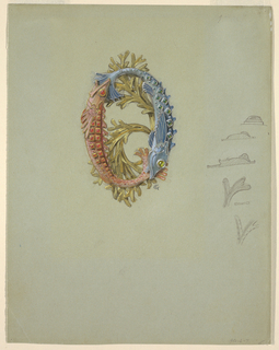 Drawing, Design for a Belt Buckle with Two Fish and Seaweed, 1900