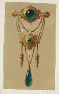 Golden brooch in form of pendant. At top, green cabochon-cut gem supports gold chains off of which hang two more green stones, one cabochon-cut, the second, an ovoid shape. Four drop pearls appear through- out the design.