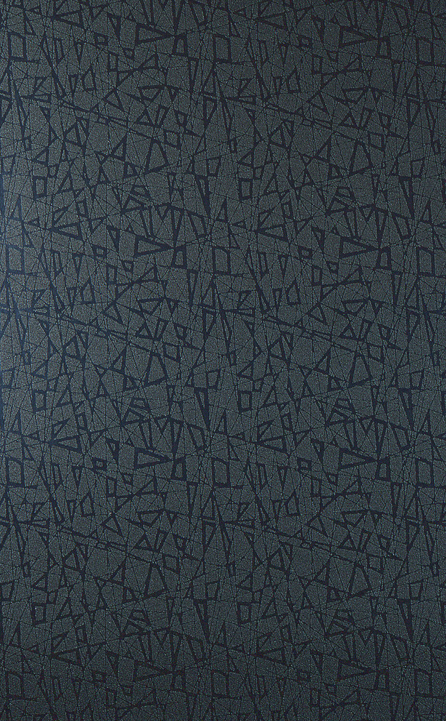 100% acrylic resin powder creating textured surface. Light gray bits forming geometric shapes on dark gray ground.