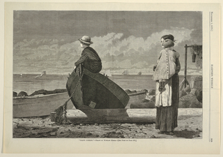 Horizontal scene at the shore's edge with a woman carrying a child at right, a small boy perched on a rowboat toward the left, and sailing boats on the sea in the background.