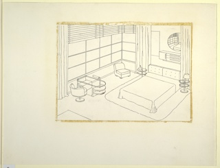 Drawing, Bedroom with Mirrored Wall, ca. 1934