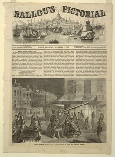 "Verticle rectangle. Illustration for Ballou's Pictorial, vol. XIII, Nov. 7, 1857, p. 289, on first page of issue, entitled ""Boston Evening Street Scene, at the Corner of Court and Brattle Strees,"" showing numerous figures, one gazing through a telescope."